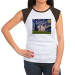 Starry Night and Pug Women's Cap Sleeve T-Shirt