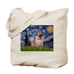 Starry Night and Pug Tote Bag