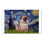 Starry Night and Pug Sticker (Rectangle)
