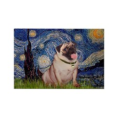 Starry Night and Pug Rectangle Magnet (10 pack)