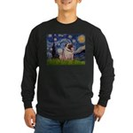 Starry Night and Pug Long Sleeve Dark T-Shirt