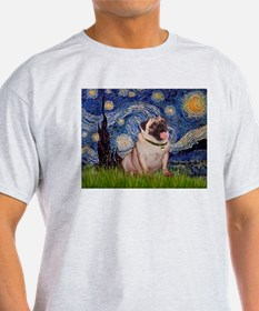 Starry Night and Pug T-Shirt