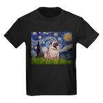 Starry Night and Pug Kids Dark T-Shirt