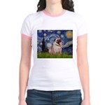 Starry Night and Pug Jr. Ringer T-Shirt