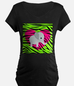 Pink Green Elephant Maternity T-Shirt