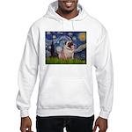 Starry Night and Pug Hooded Sweatshirt