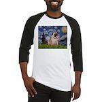 Starry Night and Pug Baseball Jersey