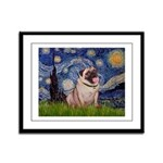 Starry Night and Pug Framed Panel Print