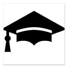 "Graduation Cap Square Car Magnet 3"" x 3"""