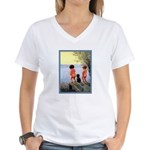 VINTAGE DOG ART Women's V-Neck T-Shirt