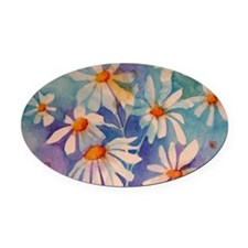 Dancing Daisies Oval Car Magnet