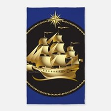 Golden Ship Area Rug