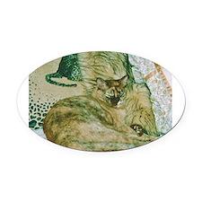 Burmese cat on cushions Oval Car Magnet