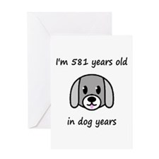 83 dog years 2 - 2 Greeting Cards