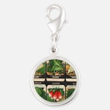 Vegetable Packets Six Silver Round Charm