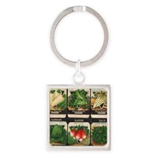 Vegetable Packets Six Square Keychain