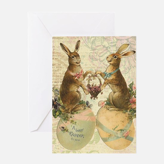 Vintage French Easter bunnies Greeting Cards
