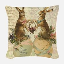 Vintage French Easter bunnies Woven Throw Pillow