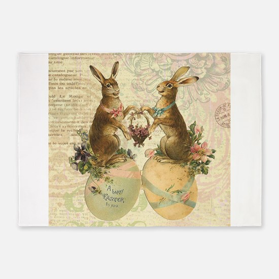 Vintage French Easter bunnies 5'x7'Area Rug