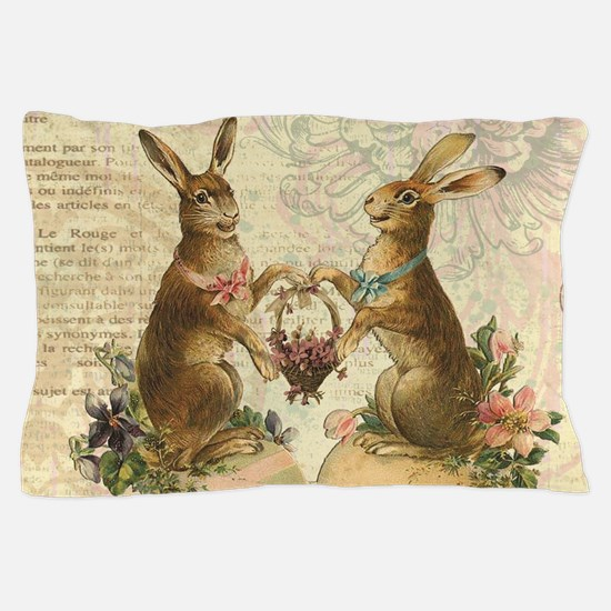 Vintage French Easter bunnies Pillow Case