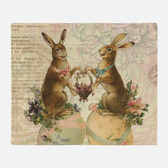 Vintage French Easter bunnies Throw Blanket