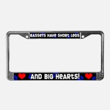 Short Legs Basset Hound License Plate Frame Blue