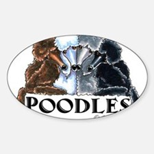 Unique White standard poodle Sticker (Oval)