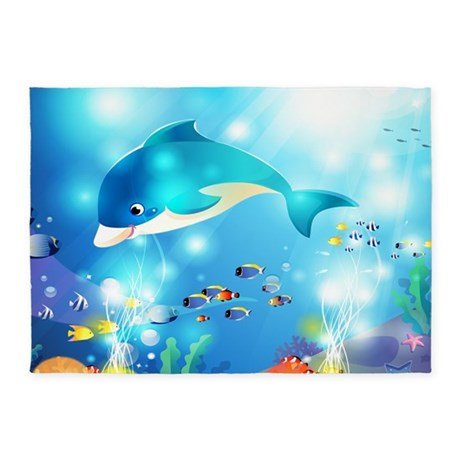 Fishes In The Sea 5u0027x7u0027Area Rug