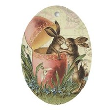 Vintage French Easter bunnies in egg Ornament (Ova