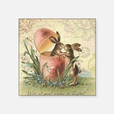 Vintage French Easter bunnies in egg Sticker