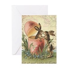 Vintage French Easter bunnies in egg Greeting Card