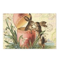 Vintage French Easter bunnies in egg Postcards (Pa