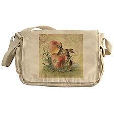 Vintage French Easter bunnies in egg Messenger Bag