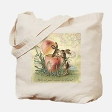 Vintage French Easter bunnies in egg Tote Bag