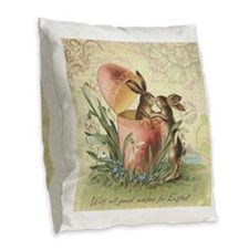 Vintage French Easter bunnies in egg Burlap Throw