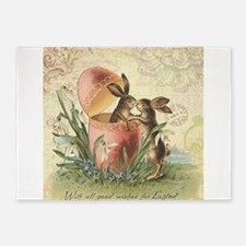 Vintage French Easter bunnies in egg 5'x7'Area Rug