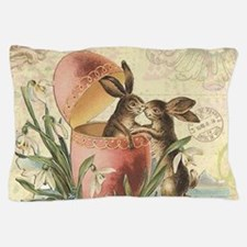 Vintage French Easter bunnies in egg Pillow Case