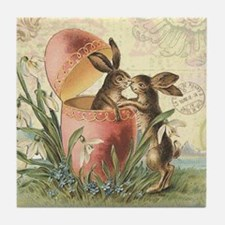 Vintage French Easter bunnies in egg Tile Coaster