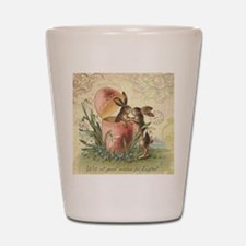 Vintage French Easter bunnies in egg Shot Glass