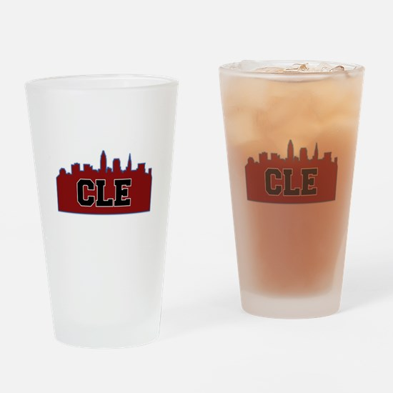 CLE Maroon/Black Drinking Glass
