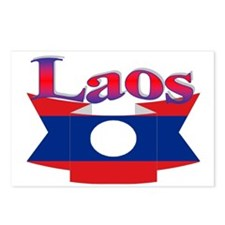 Laos flag ribbon Postcards (Package of 8)