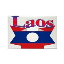 Laos flag ribbon Rectangle Magnet
