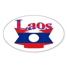 Laos flag ribbon Decal
