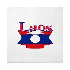 Laos flag ribbon Queen Duvet