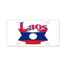 Laos flag ribbon Aluminum License Plate