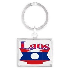 Laos flag ribbon Landscape Keychain