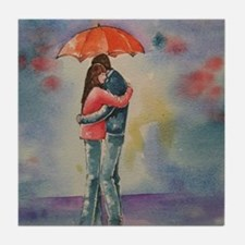 Rainy Day Lovers Tile Coaster