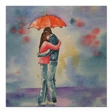"Rainy Day Lovers Square Car Magnet 3"" x 3"""