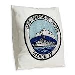 USS GREGORY Burlap Throw Pillow