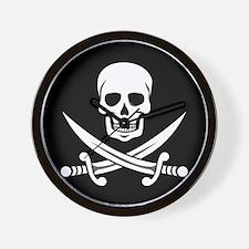 Skull and Swords Jolly Roger Wall Clock